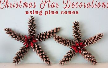 Christmas Star Decorations Using Pine Cones