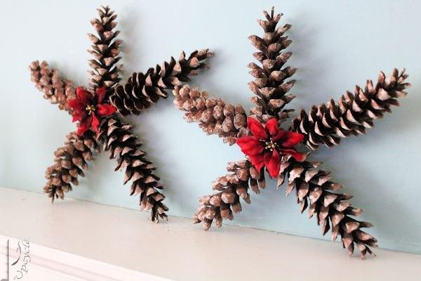 Christmas Star Decorations Using Pine Cones