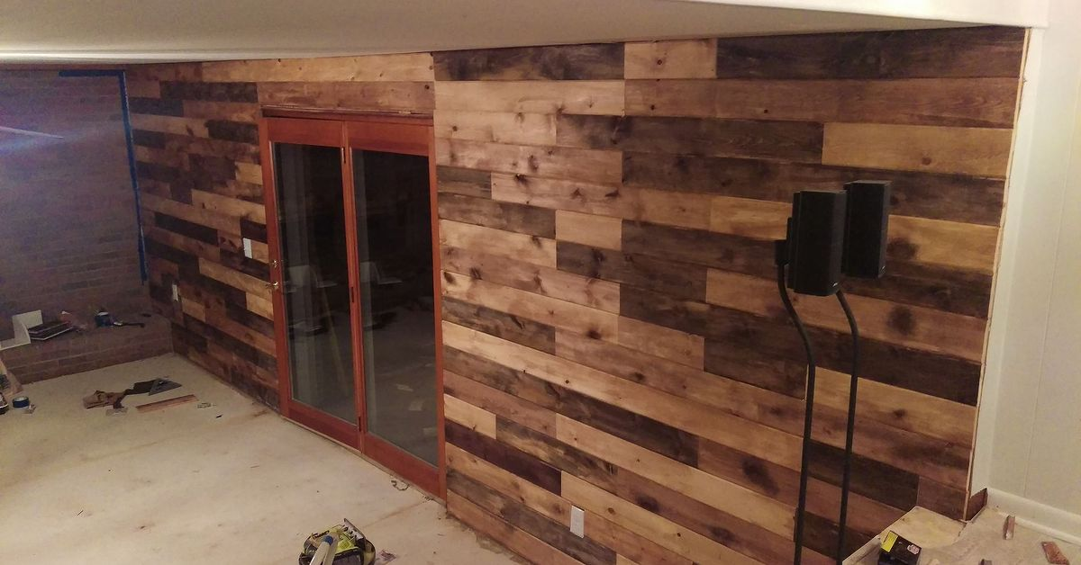 Created A Plank Wall To Replace Paneling In Lower Level