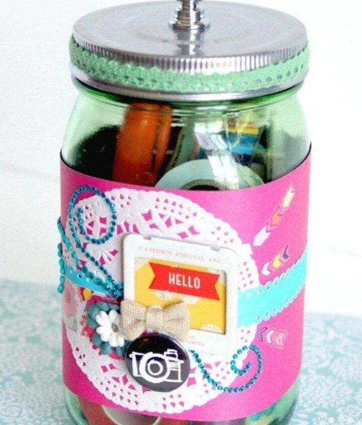 s 23 perfect mason jar gifts for everyone on your list, christmas decorations, crafts, mason jars, For The Sweetest Scrapbooker You Know