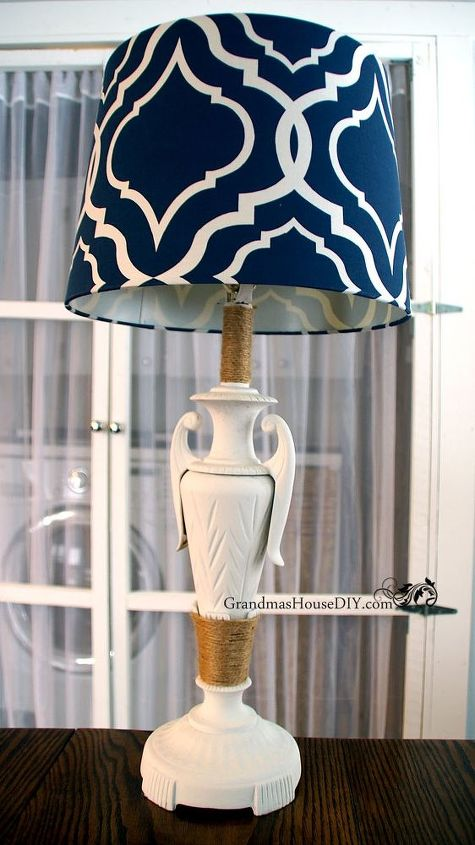 painting a gold lamp and adding a blue shade for a new look, lighting, painted furniture, repurposing upcycling