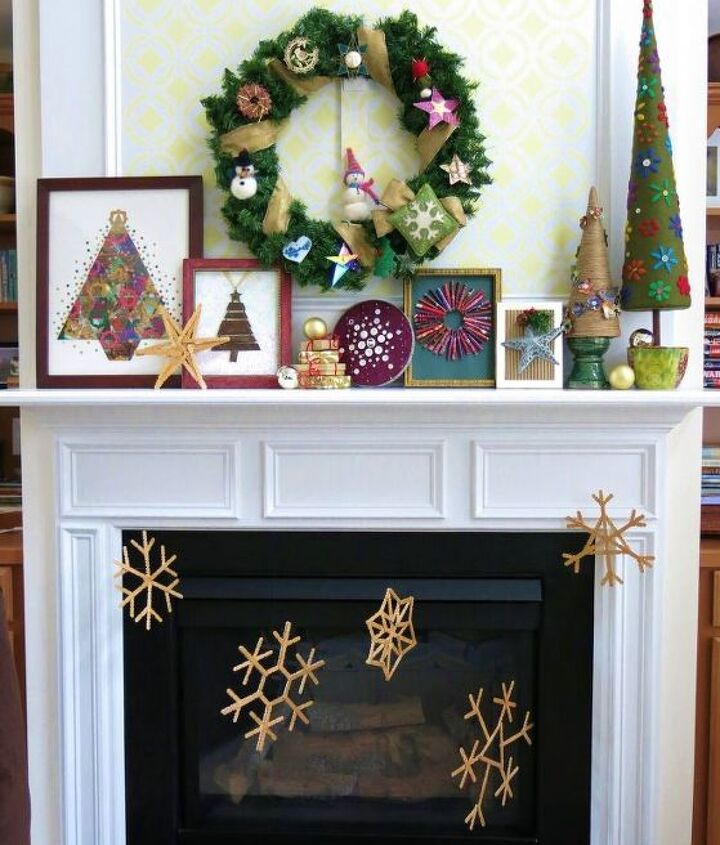 making craft stick snowflakes for christmas mantle display, christmas decorations, crafts, fireplaces mantels, how to, seasonal holiday decor