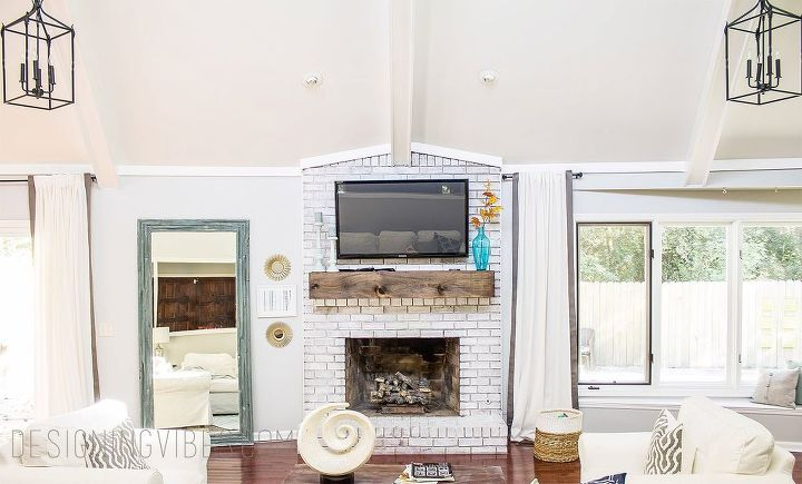 wood beam mantel diy, diy, fireplaces mantels, living room ideas, woodworking projects