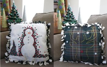 Easy No-Sew Winter Holiday Pillow