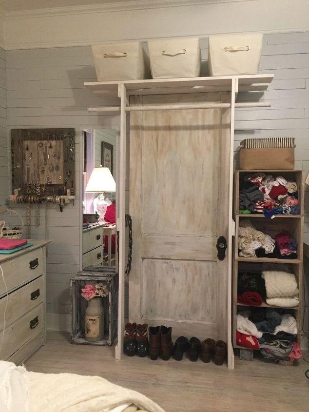Free Standing Closet Made With An Old Door Diy Doors How