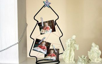 christmas tree clothespin frame a thrift store makeover, christmas decorations, crafts, decoupage, seasonal holiday decor