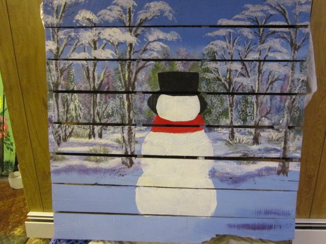 pallet wood snowman in the woods, painted furniture, pallet, seasonal holiday decor