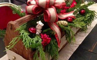 thrifty vintage toolbox christmas centerpiece, christmas decorations, crafts, diy, seasonal holiday decor