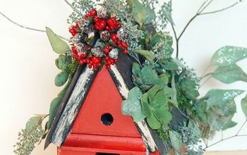 a christmas birdhouse with a living sparkling succulent roof, christmas decorations, crafts, seasonal holiday decor, succulents