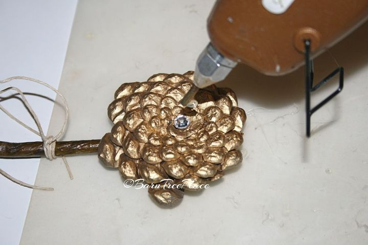 pinecone flower napkin rings, crafts, repurposing upcycling