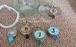 personalized cork glass tags, crafts, decoupage