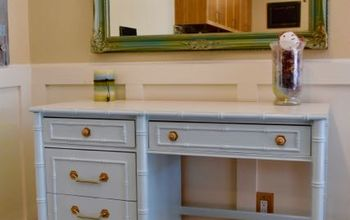 vintage faux bamboo desk gets a new look, painted furniture