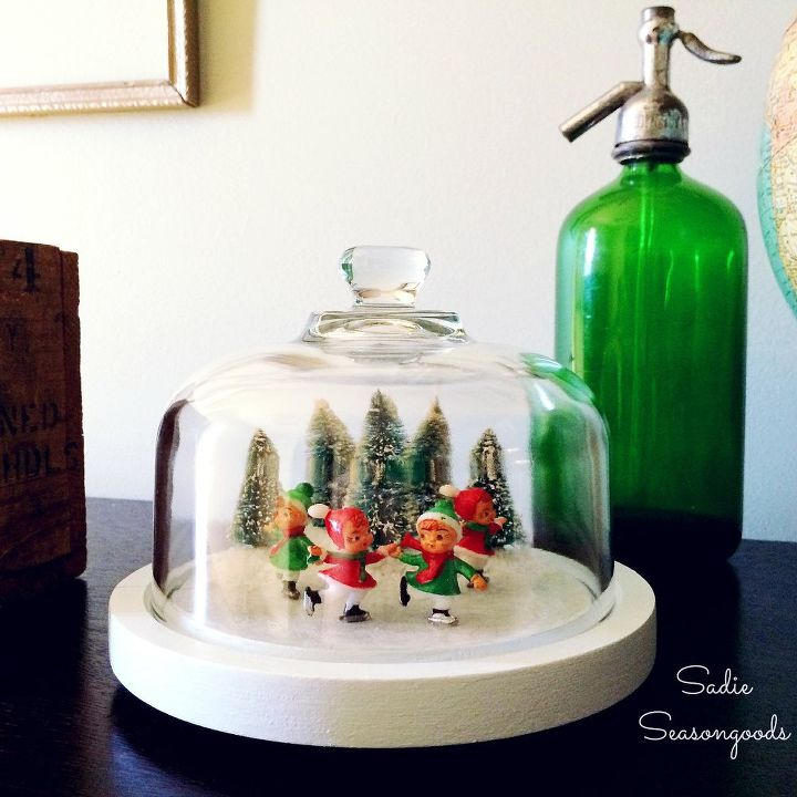 thrifted cheese dome ice skating pond christmas decorations crafts seasonal holiday decor