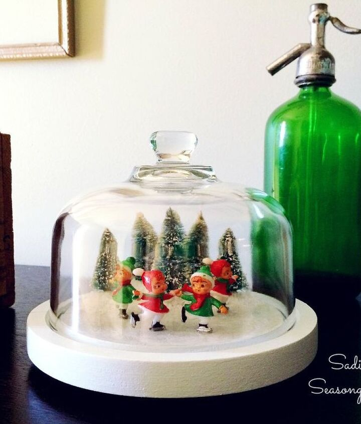 thrifted cheese dome ice skating pond, christmas decorations, crafts, seasonal holiday decor