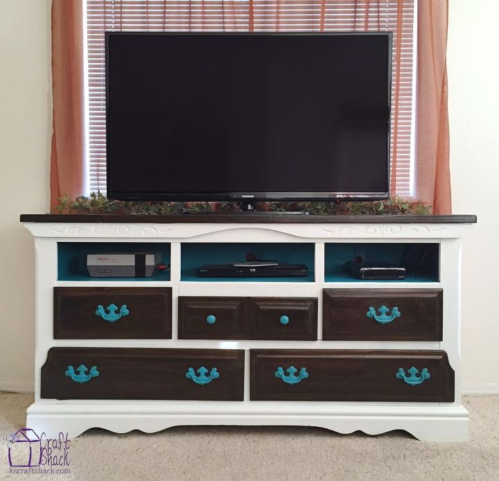 Turning An Old Dresser Into A Media Console Painted Furniture Repurposing Upcycling