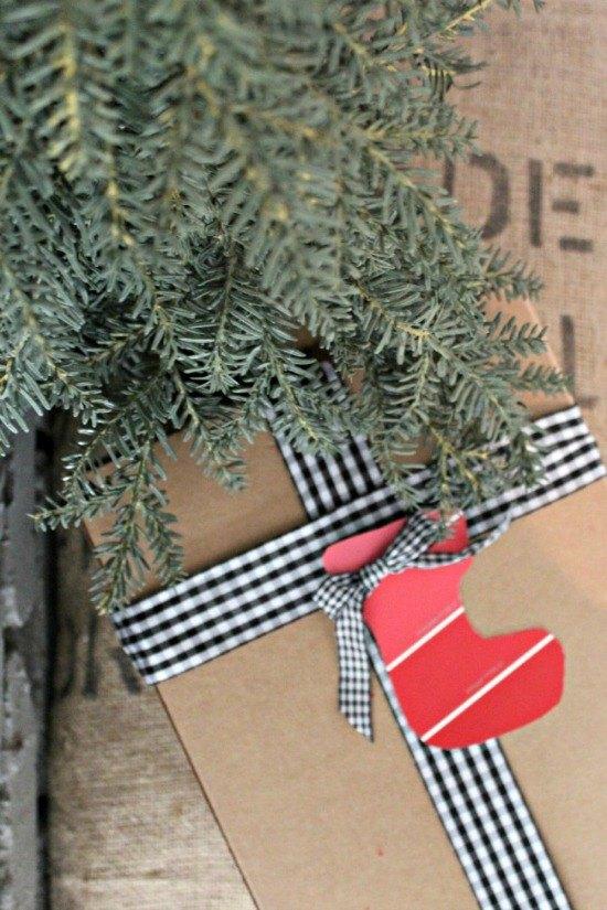 gift wrap inspiration paint chip gift tags, christmas decorations, seasonal holiday decor
