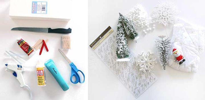 diy holiday winter scene shadow box, christmas decorations, crafts, seasonal holiday decor