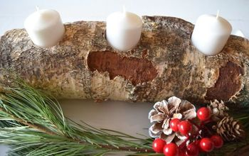 diy birch wood candle holder, christmas decorations, seasonal holiday decor