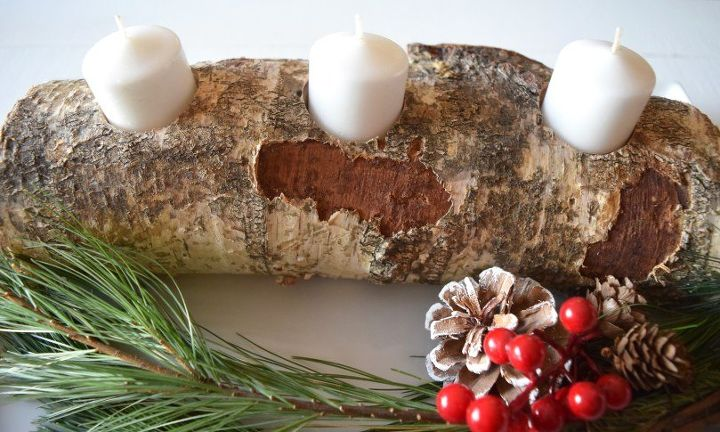 diy birch wood candle holder, christmas decorations, seasonal holiday decor
