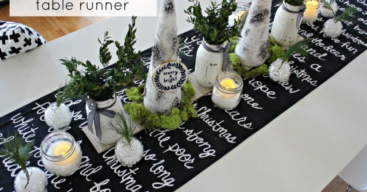 black and white christmas song lyric table runner homeforchristmas