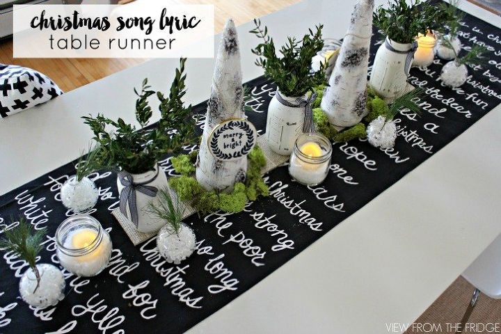 black and white christmas song lyric table runner christmas decorations dining room ideas