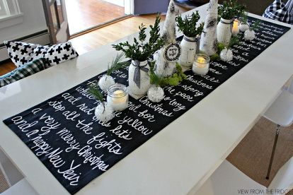 Black And White Christmas Song Lyric Table Runner Decorations Dining Room Ideas