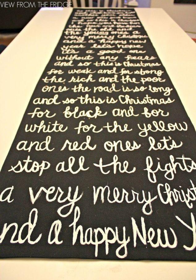 Black And White Christmas Song Lyric Table Runner