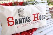 diy latitude and longitude pillow santa s house, chalk paint, christmas decorations, crafts, seasonal holiday decor