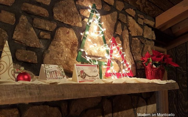 modern and rustic christmas mantel homeforchristmas, christmas decorations, crafts, fireplaces mantels, home decor, seasonal holiday decor, The AFTER photo