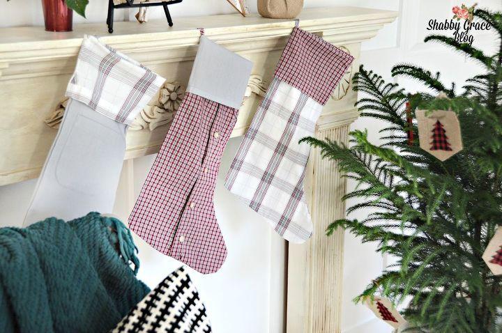 thrift shirt christmas stockings, christmas decorations, repurposing upcycling, seasonal holiday decor