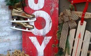 easy joy barn wood sign for christmas, christmas decorations, crafts, seasonal holiday decor