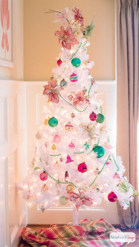 preppy pink green christmas tree with vintage shiny brite ornaments christmas decorations seasonal holiday - Christmas Tree Decorated With Vintage Ornaments