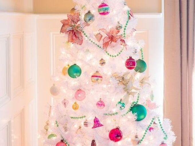 preppy pink green christmas tree with vintage shiny brite ornaments, christmas decorations, seasonal holiday decor