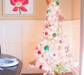 preppy pink green christmas tree with vintage