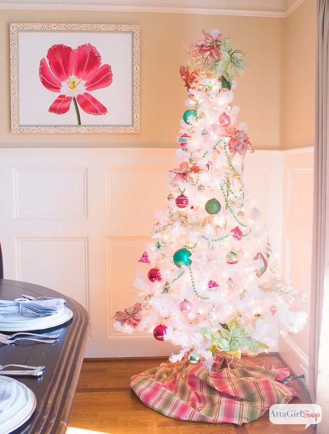 Preppy Pink Green Christmas Tree With Vintage Shiny