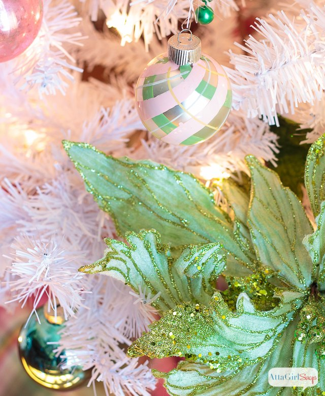 preppy pink green christmas tree with vintage shiny brite ornaments christmas decorations seasonal holiday - Ornaments For Christmas Tree