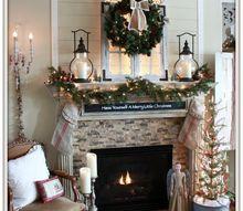 cozy farmhouse christmas mantel, christmas decorations, fireplaces mantels, seasonal holiday decor