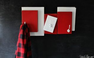 santa inspired repurposed books coat hooks homeforchristmas, christmas decorations, repurposing upcycling, seasonal holiday decor