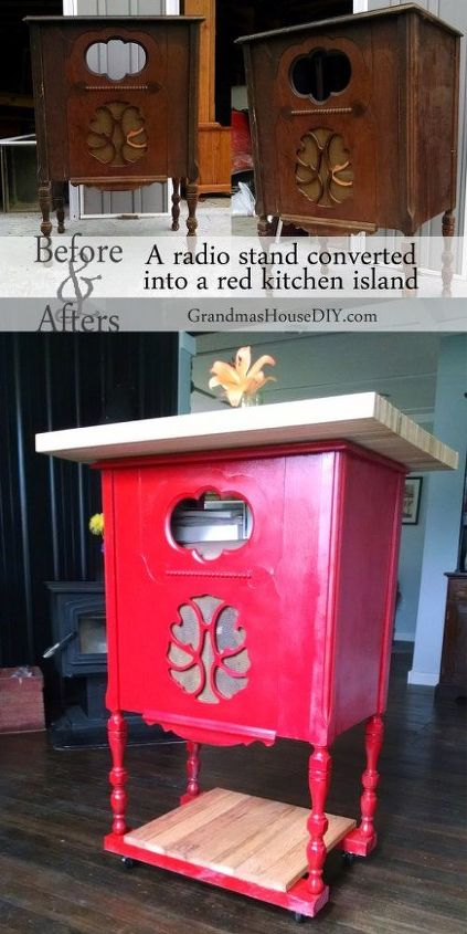 a radio stand converted into a red kitchen island, kitchen design, kitchen island, painted furniture, repurposing upcycling