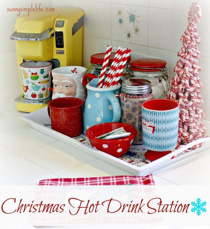 our christmas hot drink station, christmas decorations, seasonal holiday decor