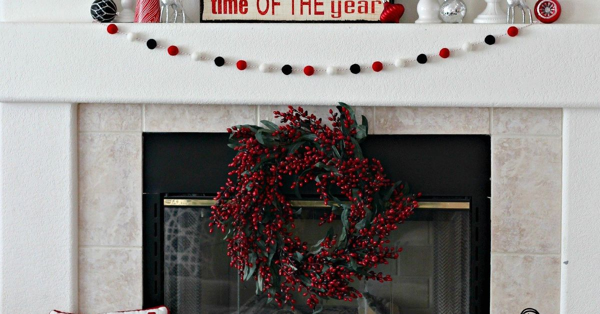 red and black christmas mantel hometalk - Red And Black Christmas Decorations