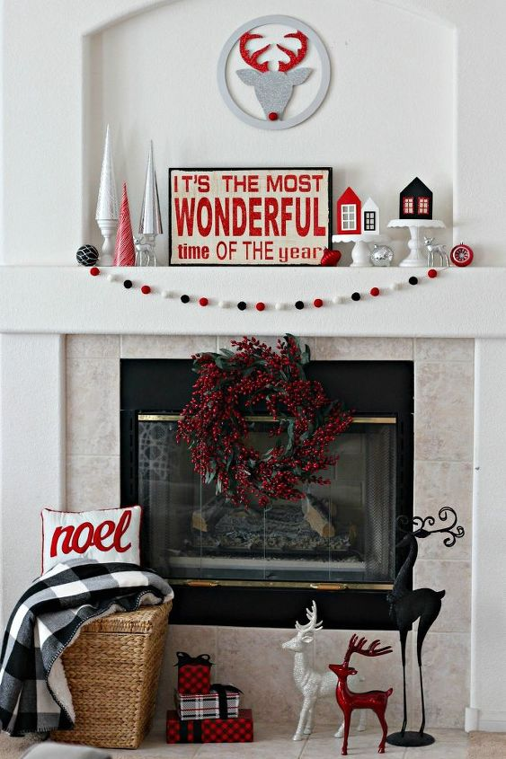 red and black christmas mantel christmas decorations fireplaces mantels seasonal holiday decor - Red And Black Christmas Decorations