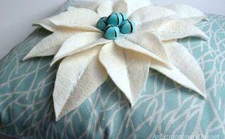 coastal christmas decor easy no measure poinsettia pillow tutorial, christmas decorations, crafts, reupholster