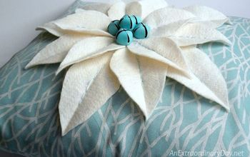 coastal christmas decor easy no measure poinsettia pillow tutorial, christmas decorations, crafts, reupholster