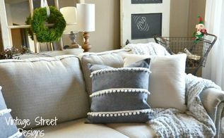 pottery barn hack pom pom stripes pillow, crafts, reupholster