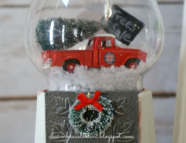 diy gumball machine waterless snow globes, christmas decorations, crafts, how to, seasonal holiday decor