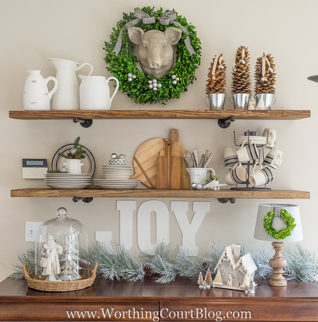 new rustic kitchen shelves decorated for christmas, christmas decorations, crafts, seasonal holiday decor