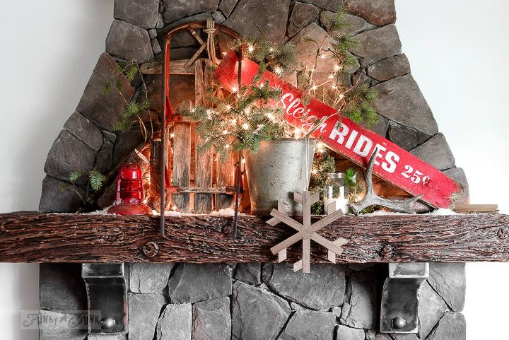 Santa S Picnic By The Campfire A Rustic Christmas Mantel Decorations Fireplaces Mantels