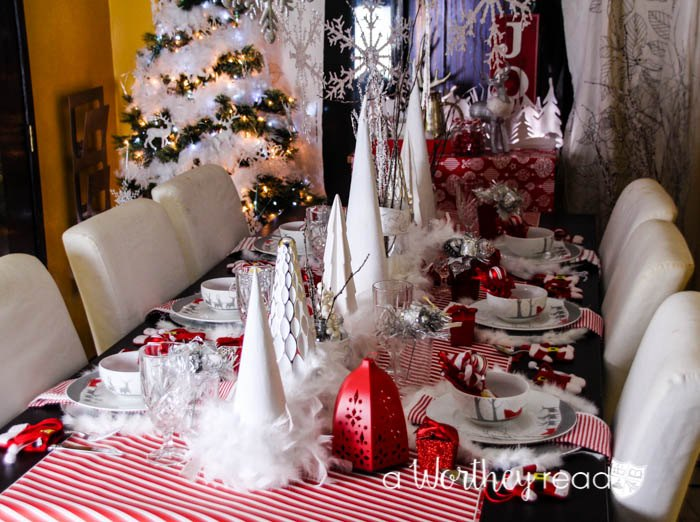 red white silver christmas tablescape homeforchristmas, christmas decorations, seasonal holiday decor