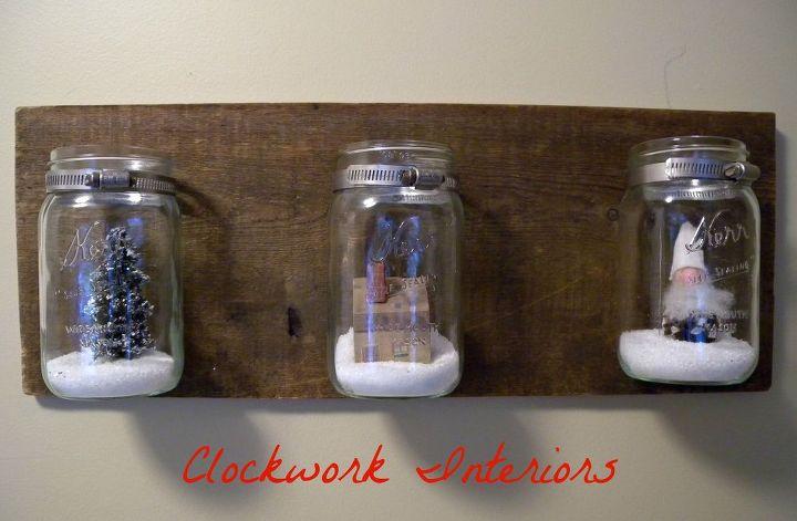 diy mason jar wall sconce, christmas decorations, crafts, mason jars, seasonal holiday decor, wall decor
